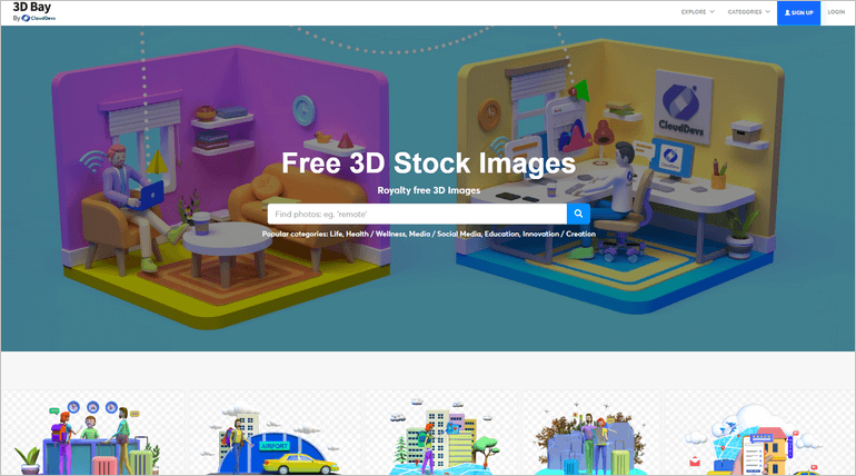 3D Bay is an extensive collection of 3D stock images available for free download and usage by anyone, anywhere.