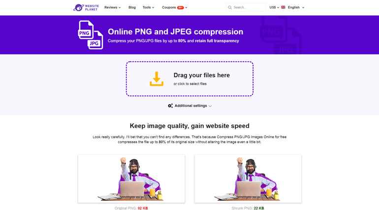 Compress PNG/JPG is a completely free online image optimizer tool.