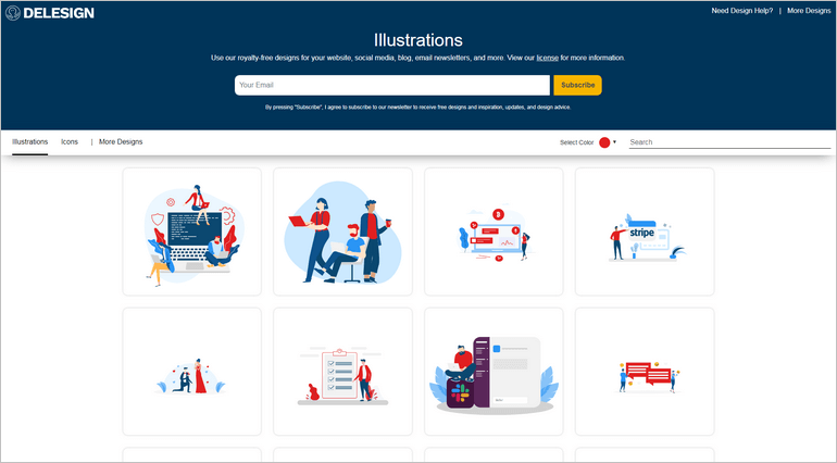 Delesign provides a collection of creative illustrations and icons for your website, blog, and social media.