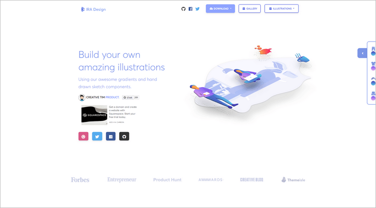 IRA Design is a website with beautiful, artistic, and customizable free illustrations.