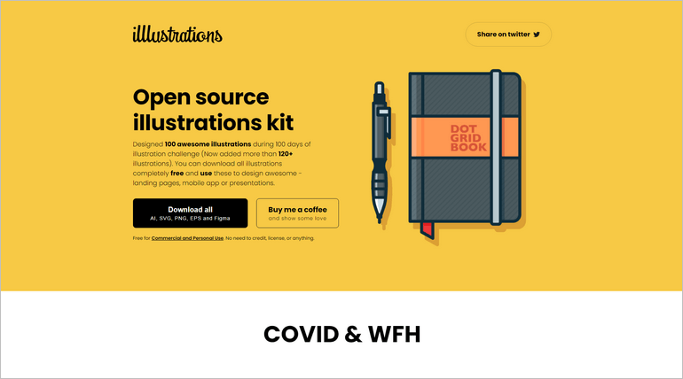 Illustrations is a beautiful open-source illustration kit by Vijay Verma.