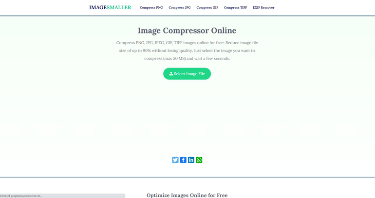 ImageSmaller is a free image compressor tool.