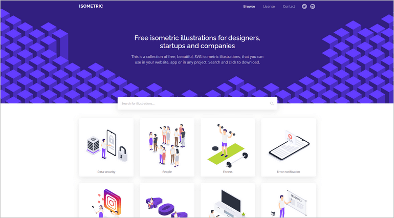 Isometric provides a beautiful collection of SVG and PNG illustrations.