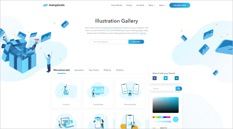 ManyPixels provides a comprehensive illustration gallery where you can download hundreds of free illustrations.
