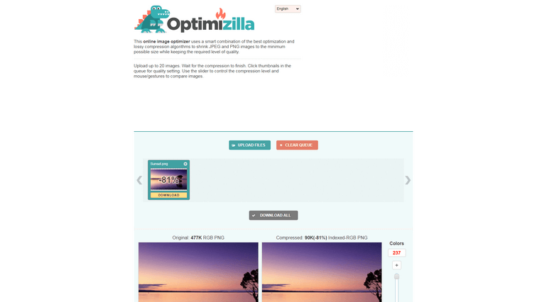 Optimizilla is a free online image optimizer tool.