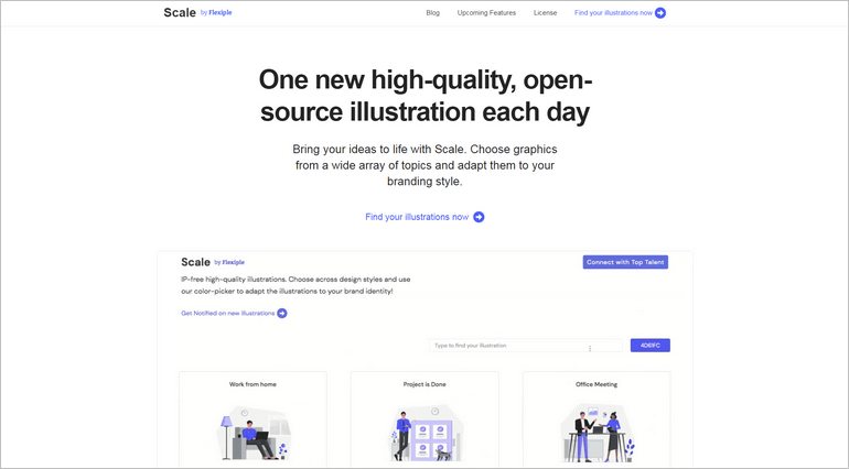 Scale offers free high-quality open-source illustrations