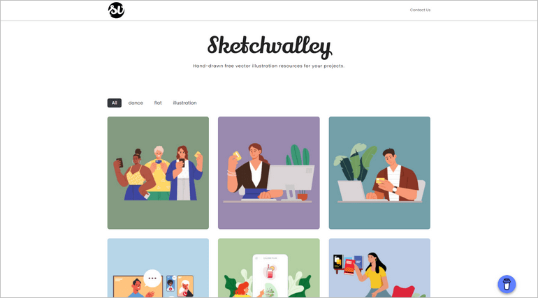Sketchvalley offer beautiful hand-drawn free illustrations for your projects.