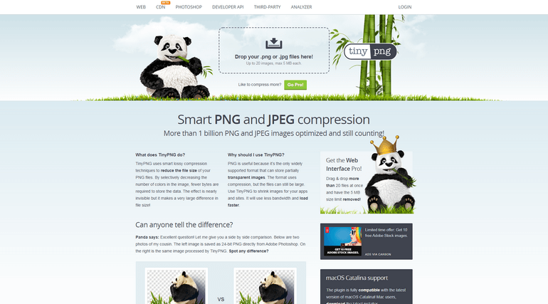 TinyPNG is a free image optimization tool to compress both PNG and JPEG image formats.