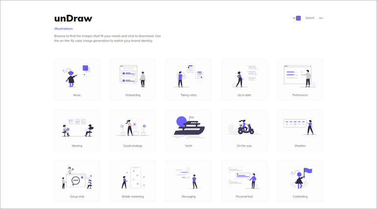unDraw offer open-source illustrations for your website, blog, or other projects.