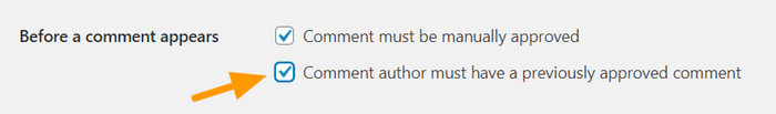 "Check the option ""common authors must have a previously approved comment""."
