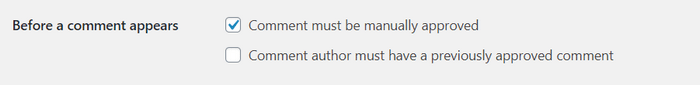 """Check the """"comment must manually approved"""" box to help you protect your website."""