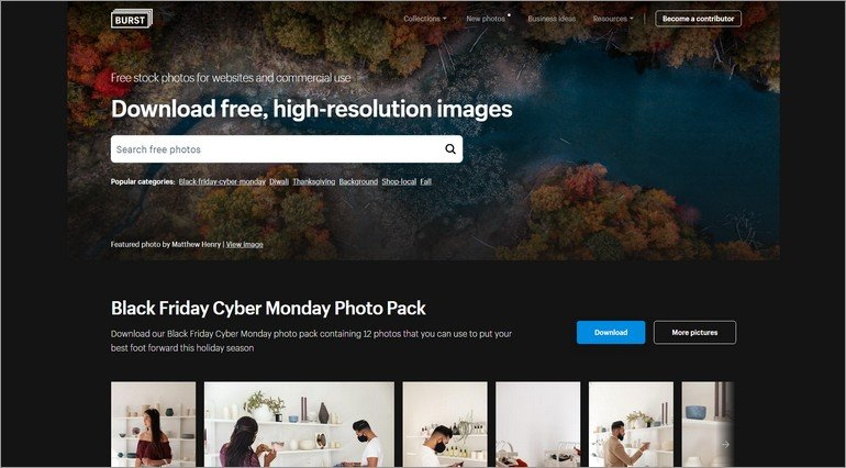 Burst is a free stock photo site powered by Shopify.