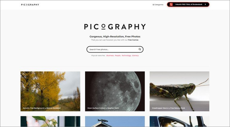 Picography has thousands of images to choose from.