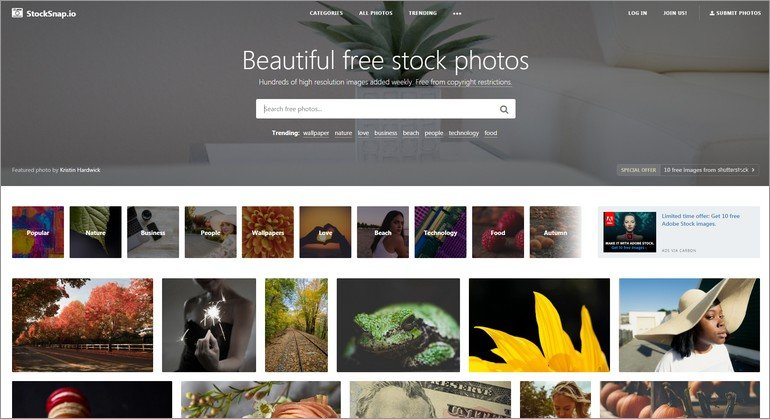 StockSnap is another popular website with free stock photos.