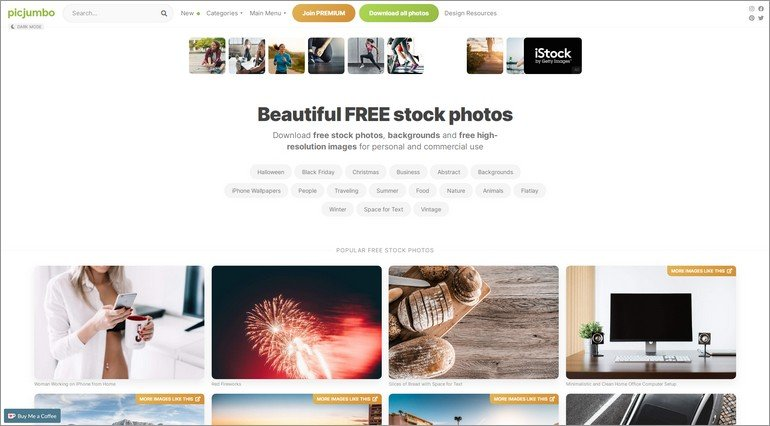 PicJumbo is a stock photo site with a large number of free images available.