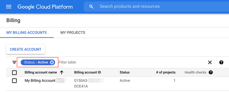 When your new billing account is added successfully, you will see its status as Active.