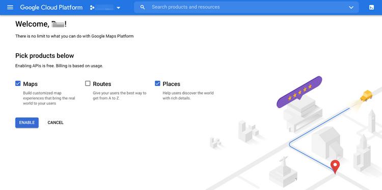 Get Google Places API Key