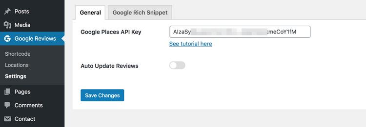 Add the Google Places API Key