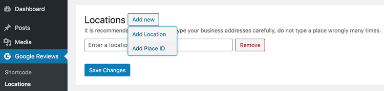 Go to the sub-menu Locations to add your business location.