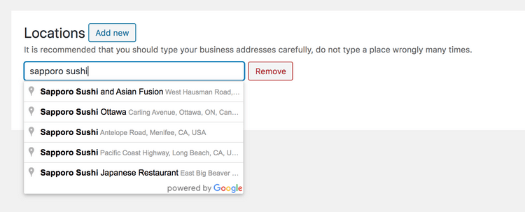To manually add location, you have to type your business name along with its address.