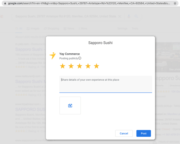 A dedicated to Google review sharing popup.