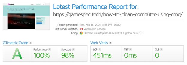 GTMetrix is a handy tool for testing a webpage's performance.