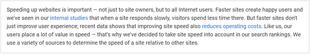 Here is the official declaration by Google mentioning page speed as a key factor to improve in SERP.