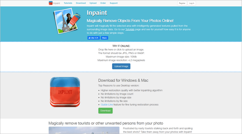 Inpaint is a free web tool for removing unwanted elements on images