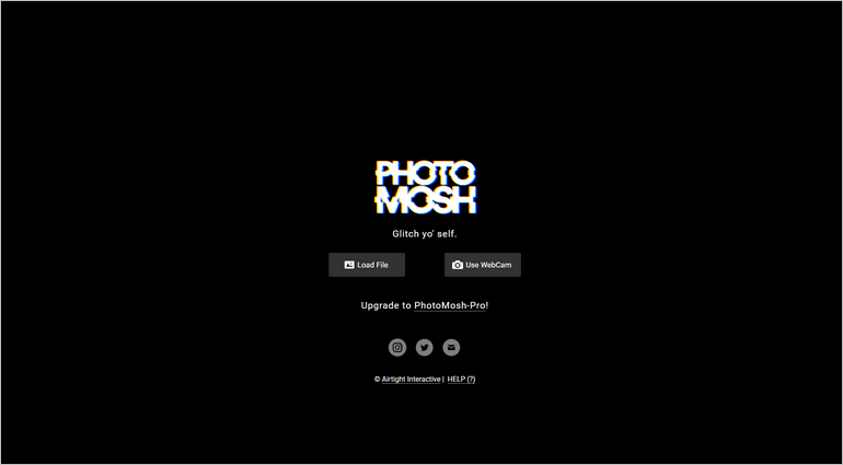 With PhotoMosh, you can glitch images, videos, and webcam using WebGL effects.