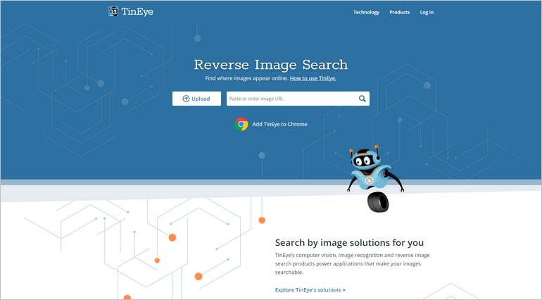 Image Search is a free web tool for image recognition and makes your images searchable via reverse image search.