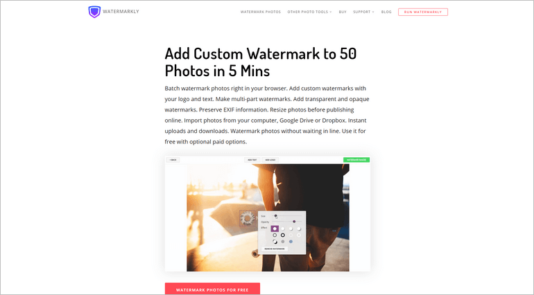 With Watermarkly you can watermark photos in batches of up to 50 images.