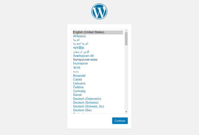 Install WordPress and select your preferred language.