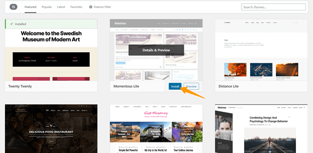 Install WordPress themes in Multisite.