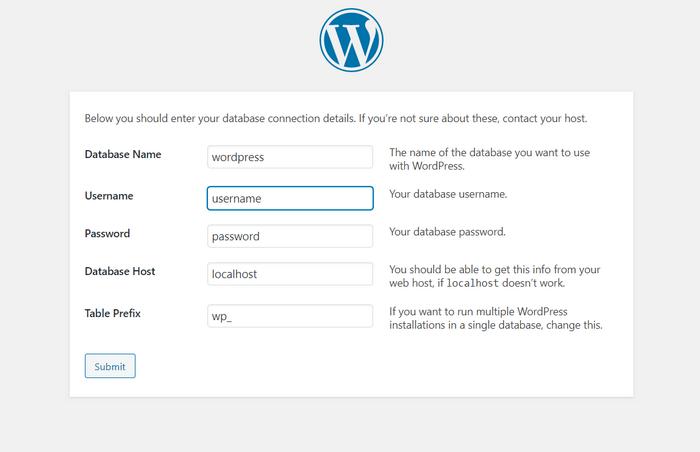 Add WordPress database.