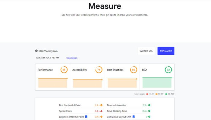 web.dev Measure is another simple but effective method of assessing your site.