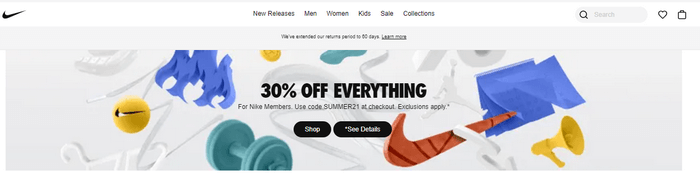 Nike announces in their homepage banner. It entices the customers to visit the page and purchase.
