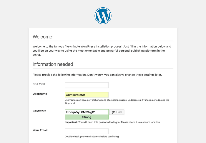 Last step is to reinstall WordPress.