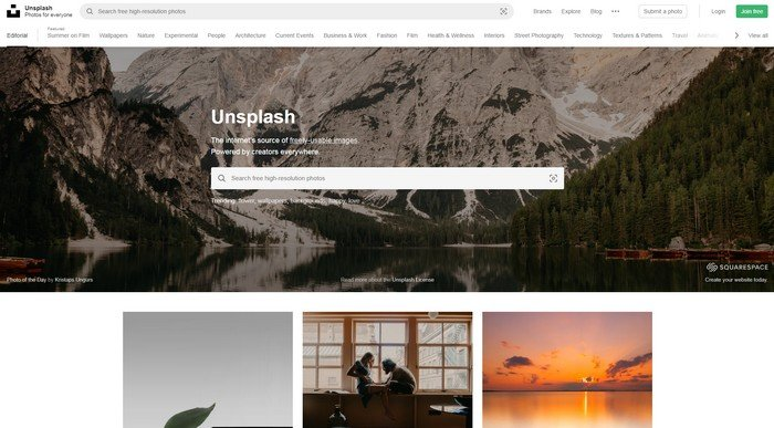 Unsplash is a website that offers millions of free resources.