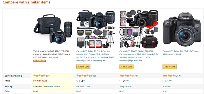 Compare with similar items - roughly translated - hey, here are a few better items than the ones you selected.'