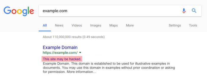 Another way to know your website is hacked is through the warning on Google's search result.