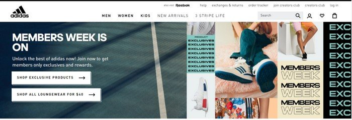 On the homepage of Adidas, the navigation is simple, has enticing content that'll make the visitor click.