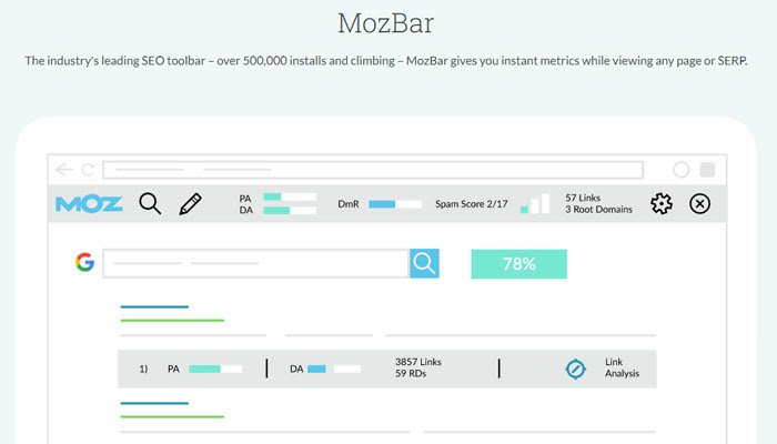 Moz Toolbar is a a Chrome extension provided that helps marketers to find out the basic link metrics.