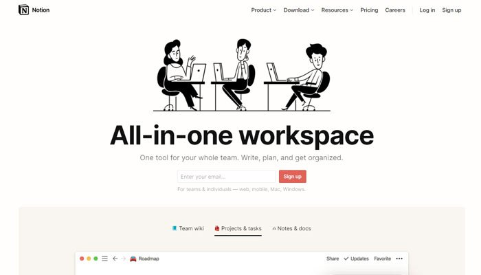 Notion as great productivity tool and an awesome tool for collaborative work.